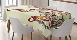 Ambesonne Hummingbirds Decorations Tablecloth, Flying Bird a