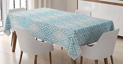 Ambesonne Ikat Decor Tablecloth, Classic Abstract Geometric
