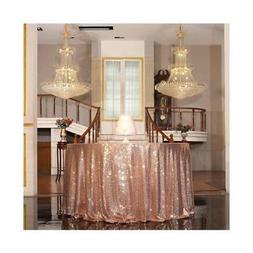 "PartyDelight 90"" inch Rose Gold Sequin Tablecloth Round, wed"