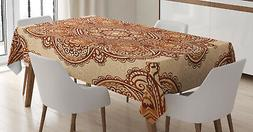 India Tablecloth Mehndi Paisley Floral Rectangular Table Cov