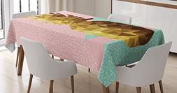 Ambesonne Indie Tablecloth, Retro Summer Concept Pineapple F