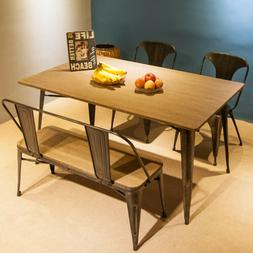 Industrial Style Dining Table Pub Desk Solid Wood and Metal