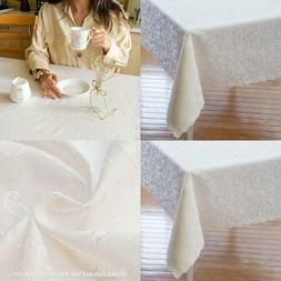 Ivory Tablecloth, Table Runner or Napkins Polyester Stain Re