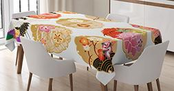 Ambesonne Japanese Decor Tablecloth, Floral Round Golden Fra