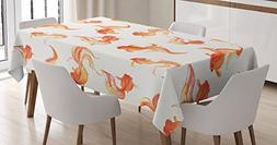 Ambesonne Japanese Decor Tablecloth, Chinese Goldfish Ancien