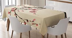 Ambesonne Japanese Decor Tablecloth, Traditional Chinese Pai