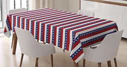 Ambesonne 4th of July Tablecloth, Stars and Stripes Pattern