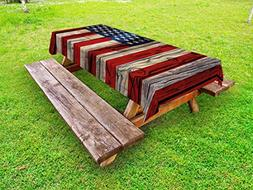 Ambesonne 4th of July Outdoor Tablecloth, Wooden Planks Pain
