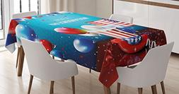 Ambesonne 4th of July Tablecloth, Festive Celebration of The