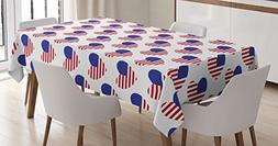 Ambesonne 4th of July Tablecloth, Pattern with American Flag
