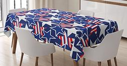Ambesonne 4th of July Tablecloth, Stars and Stripes of Liber