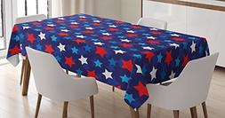 Ambesonne 4th of July Tablecloth, American Flag Inspired wit