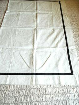 Kate Spade White Linen Blend Table Cloth with Brown Ribbon B