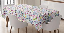 Kids Decor Tablecloth by Ambesonne, Cute Colorful Alphabet A