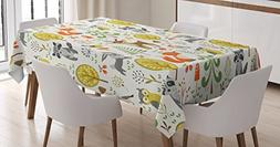 Ambesonne Kids Decor Tablecloth by, Woodland Forest Animals