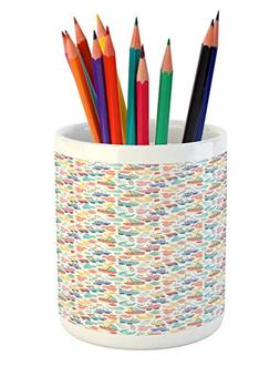Ambesonne Colorful Pencil Pen Holder, Colorful Cartoon Patte