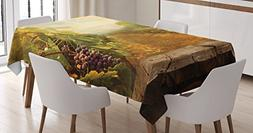 Kitchen Decor Tablecloth by Ambesonne, Vineyard Grapes Natur