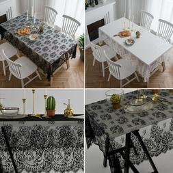 Kitchen Home Table Cloth Lace Flower Rectangle Tablecloth Te