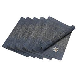 Pauwer Kitchen Table Mats Set of 6 Woven Vinyl Placemats for