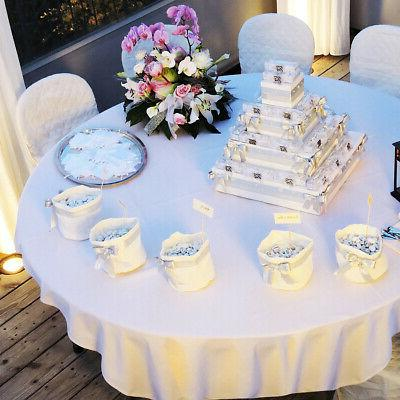 """10PCS 90"""" Round Table Cloth Polyester Tablecloth Hemmed Corner"""