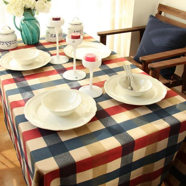 100% <font><b>Table</b></font> <font><b>Cloth</b></font> English Style Plaid Multifunctional Tablecloths <font><b>Table</b></font> Cover GQ20