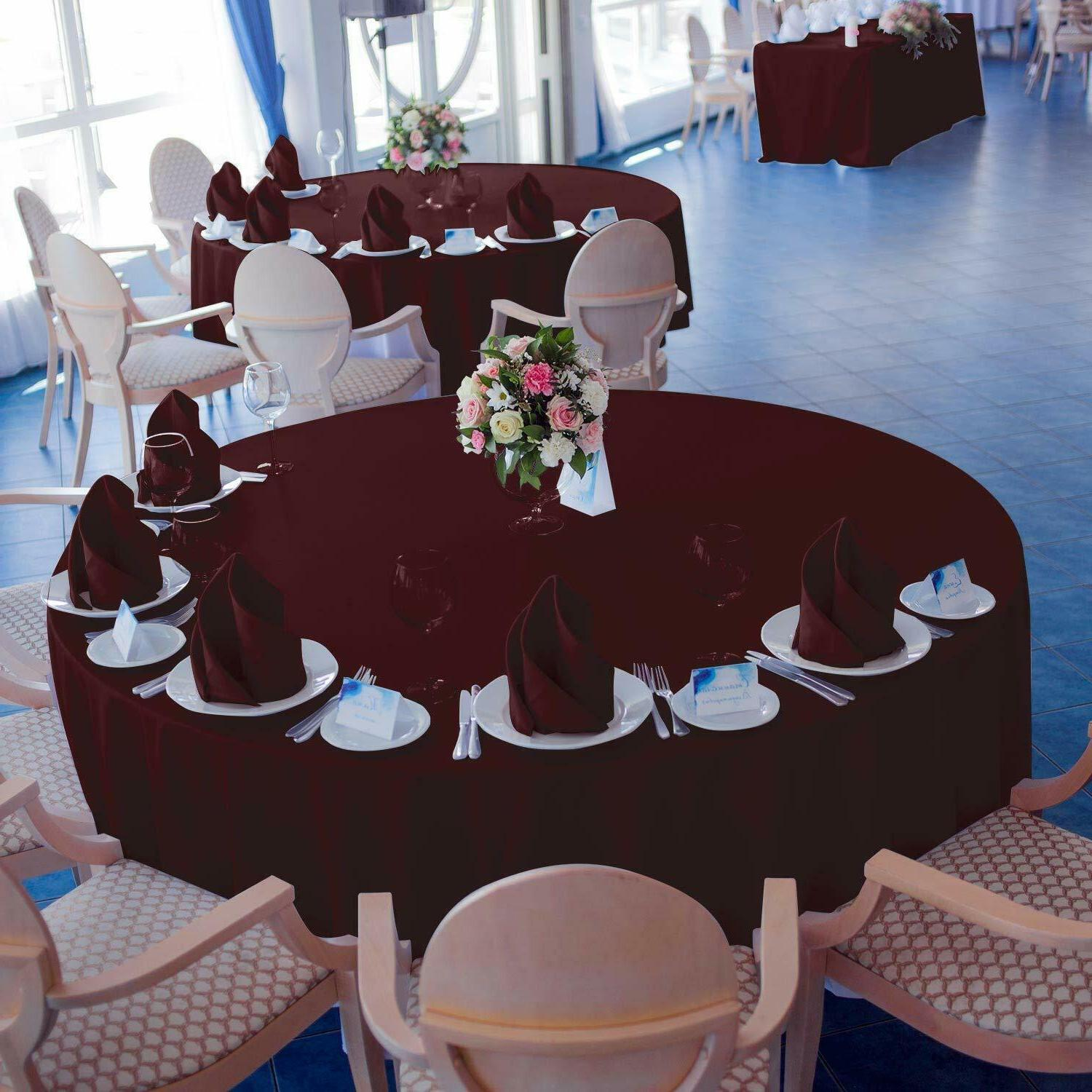 """VEEYOO 108"""" Round Tablecloth 100% Polyester Circular Wrinkle"""