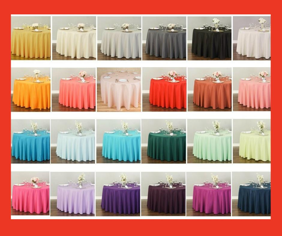 120 in round polyester tablecloth 32 colors