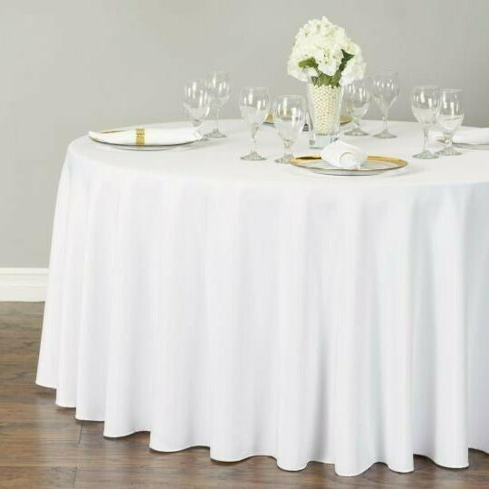 120 inch round polyester tablecloth white new