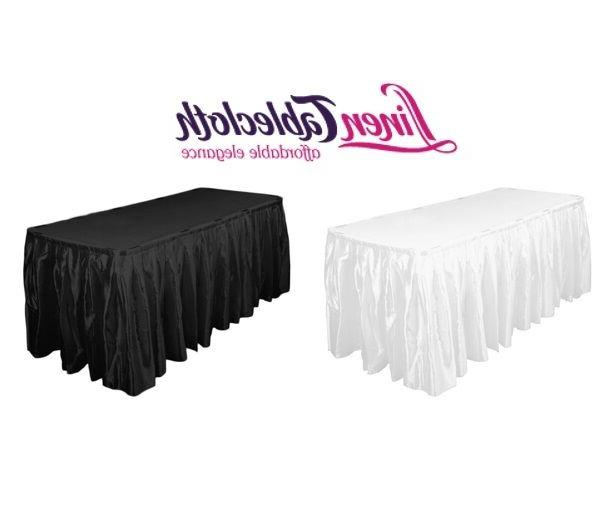 14 ft accordion pleat satin table skirt