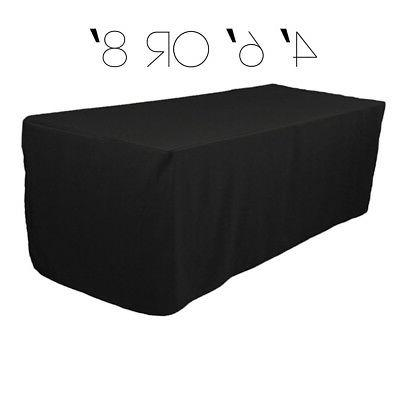 4 6 8 ft Rectangular Fitted 48 72 96 in Black Tablecloth Fab