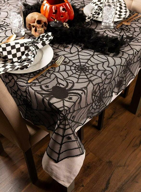 DII Lace Tablecloth, Black Web - Perfect