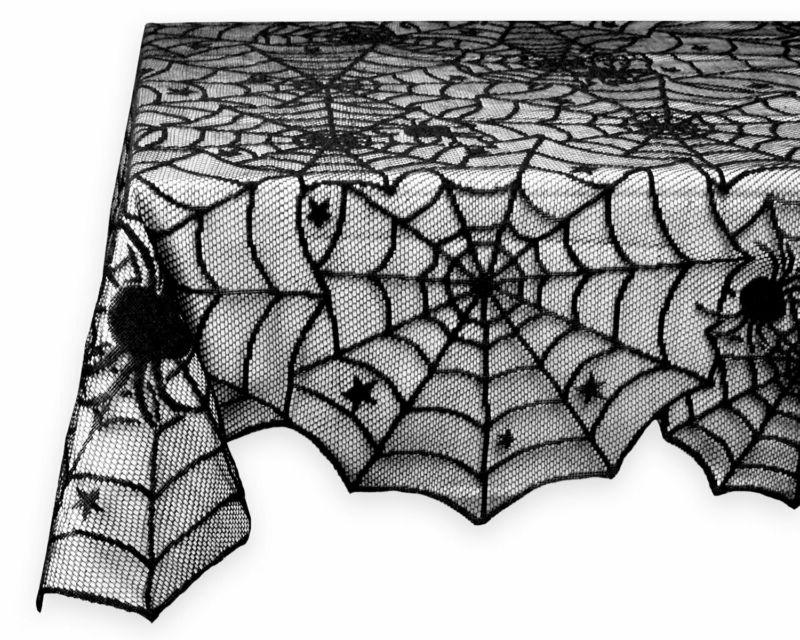 54x72 rectangular polyester lace tablecloth black spider