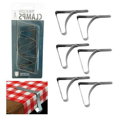 6 Pc Stainless Steel Tablecloth Clamps Cover Clip Holder Tab