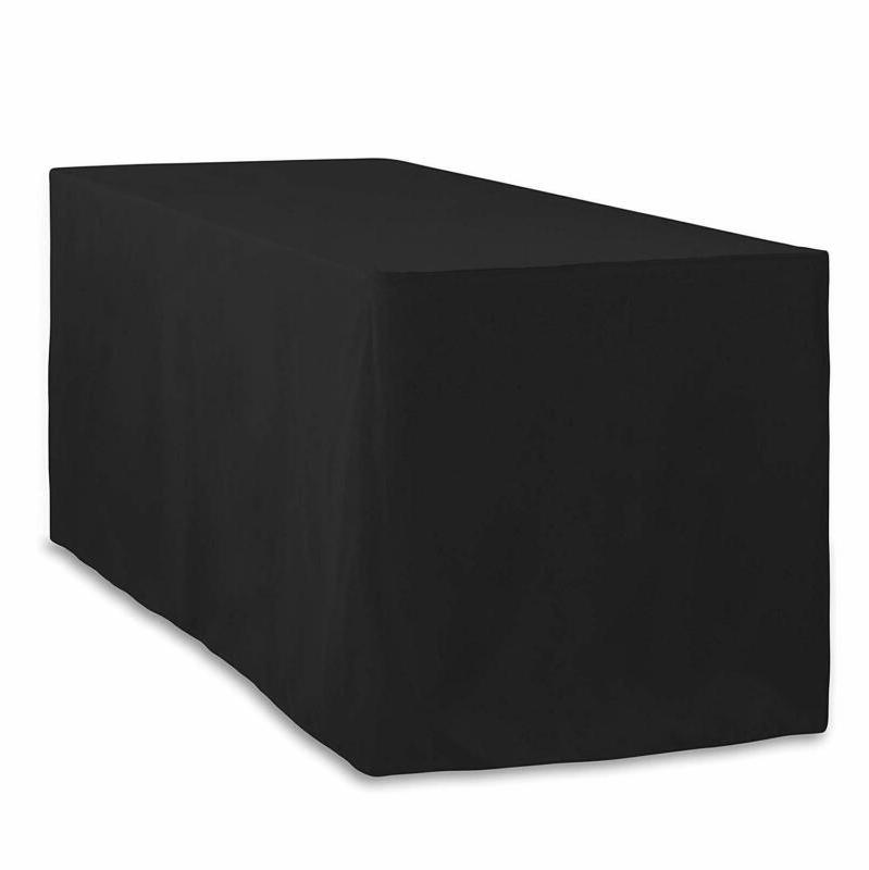LinenTablecloth 6 ft. Fitted Polyester Tablecloth Black