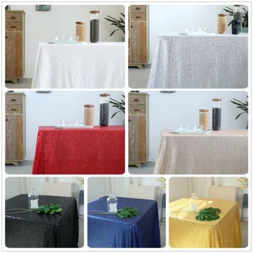 "60""x102"" Sequin Tablecloth Wedding Sparkly Table Cloth Recta"