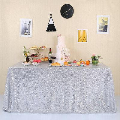 """60""""x102"""" Silver Sequin Tablecloth Sparkly Wedding Paty Table"""