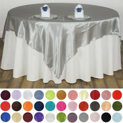 72x72 square satin table overlays wedding party