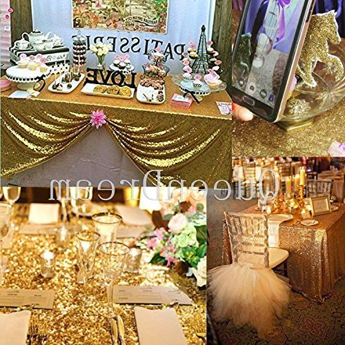 Queendream 90 X90 Gold Sequin Tablecloth Overlay Sequined Sheer