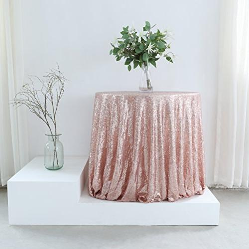 96 rose gold sequin tablecloth