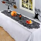 Black Lace Spiderweb Table Runner Cloth Cover Halloween Fest