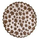 DII 40quot Round Lace Table topper, Maple Leaf Brown