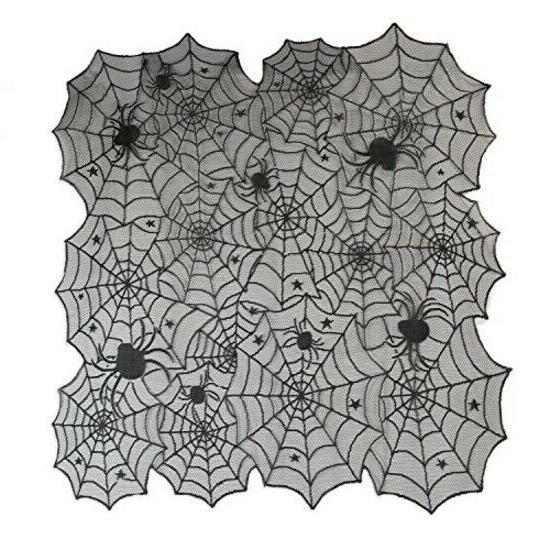 DII 40quot Square Polyester Lace Table Topper, Black Spider