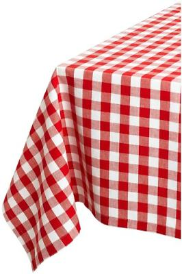 "DII 60x84"" Rectangular Cotton Tablecloth, Red & White Check"