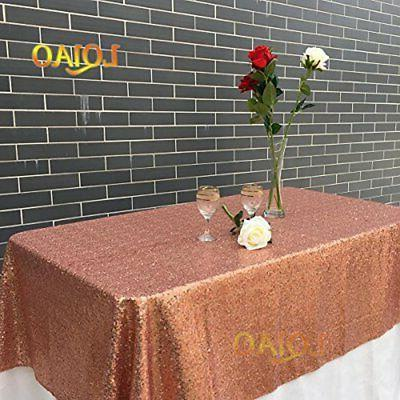 LQIAO 120x200cm Rose Gold-Sequins Table Cloth, Luxurious Rec
