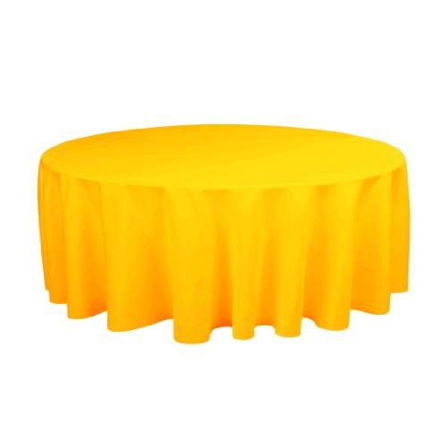 LinenTablecloth 132-Inch Round Polyester Tablecloth Marigold