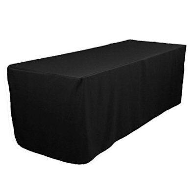 LinenTablecloth 8 ft. Fitted Polyester Tablecloth Black