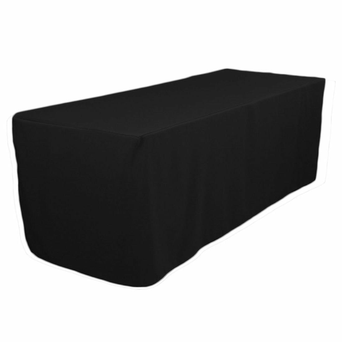 NEW! LinenTablecloth 6 ft Fitted Polyester Tablecloth Black
