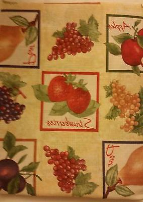 """PRINTED KITCHEN Tablecloth, 54"""" x 72"""", Oblong  FRUITS in SQU"""