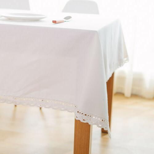 Rectangle White Tablecloth Linen Cover