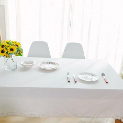 Rectangle White Tablecloth Cotton Cover